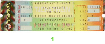 The Cars 1980s Ticket from Hartford Civic Center on 13 Nov 80: Ticket One