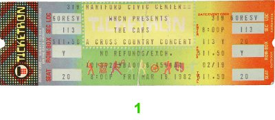 The Cars 1980s Ticket from Hartford Civic Center on 19 Mar 82: Ticket One