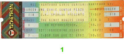 Kenny Rogers 1980s Ticket from Hartford Civic Center on 22 Aug 82: Ticket One