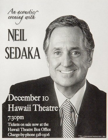 "Neil Sedaka Handbill from Hawaii Theatre Center on 10 Dec 04: 8 1/2"" x 11"""