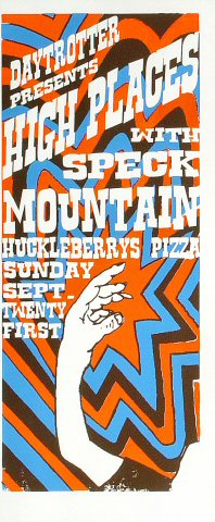 """High Places Poster from Huckleberry's Pizza Parlor on 21 Sep 08: 7 1/2"""" x 18"""""""
