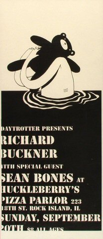 "Richard Buckner Poster from Huckleberry's Pizza Parlor on 20 Sep 09: 7 3/4"" x 18"""
