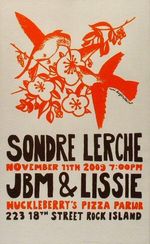 "Sondre Lerche Poster from Huckleberry's Pizza Parlor on 11 Nov 09: 11 1/8"" x 18"""