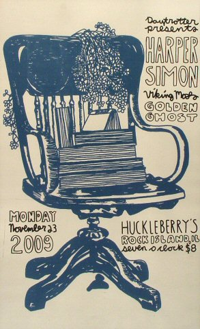 "Harper Simon Poster from Huckleberry's Pizza Parlor on 23 Nov 09: 11"" x 18"""