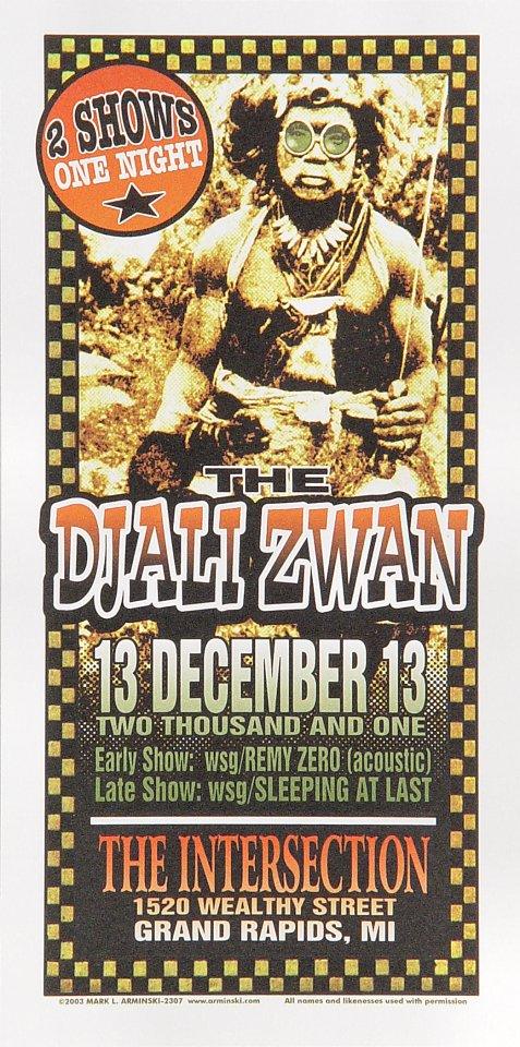 "Zwan Handbill from Intersection on 13 Dec 01: 4 1/4"" x 8 1/2"""