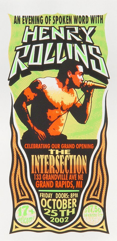 "Henry Rollins Handbill from Intersection on 25 Oct 02: 4 1/4"" x 8 1/2"""