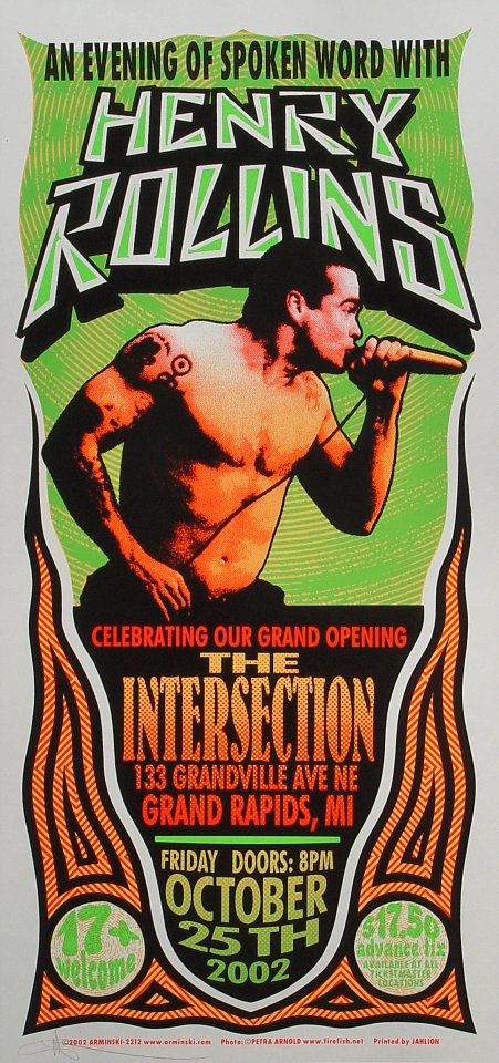 "Henry Rollins Poster from Intersection on 25 Oct 02: 10 1/2"" x 22 1/4"""