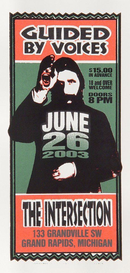 """Guided By Voices Handbill from Intersection on 26 Jun 03: 4 1/4"""" x 8 5/8"""""""