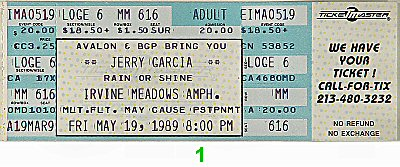Jerry Garcia 1980s Ticket from Irvine Meadows Amphitheatre on 19 May 89: Ticket One