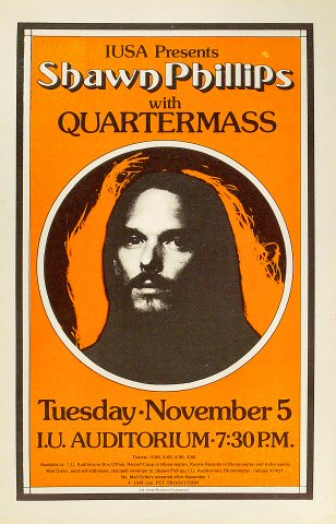 "Shawn Phillips Poster from Indiana University Auditorium on 05 Nov 74: 11"" x 17"""