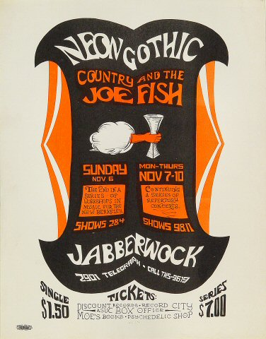 "Country Joe & the Fish Handbill from Jabberwock on 06 Nov 66: 8 1/2"" x 11"""