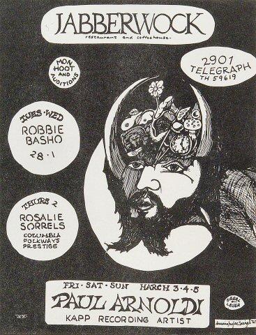 "Robbie Basho Handbill from Jabberwock on 28 Feb 67: 7 7/8"" x 10 1/4"""