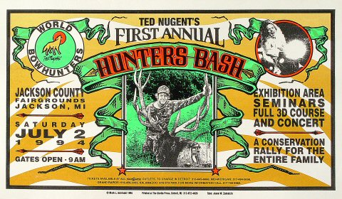 "Ted Nugent Poster from Jackson County Fairgrounds on 02 Jul 94: 11 3/4"" x 20"""