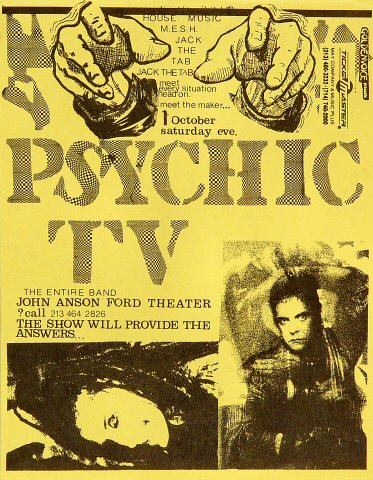 "Psychic TV Handbill from John Anson Ford Theatre on 01 Oct 88: 8 1/2"" x 11"""