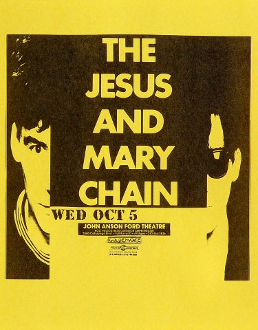 "The Jesus & Mary Chain Handbill from John Anson Ford Theatre on 05 Oct 88: 8 1/2"" x 11"""