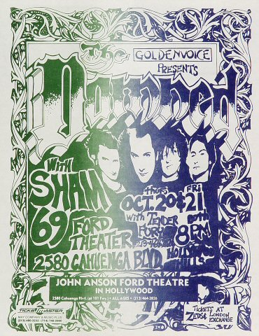 "The Damned Handbill from John Anson Ford Theatre on 20 Oct 88: 8 1/2"" x 11"""