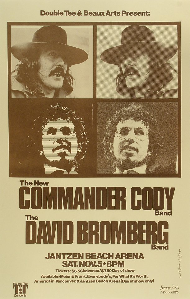 "Commander Cody Poster from Calderone Concert Hall on 13 Aug 77: 14"" x 22"""