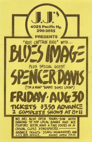 "Blues Image Handbill from J.J.'s on 30 Aug 68: 5 1/2"" x 8 1/2"""