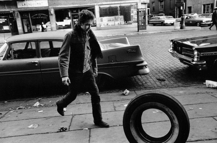 More treasures: Bob Dylan walking in New York's Greenwich Village in 1963. Copyright Jim Marshall.