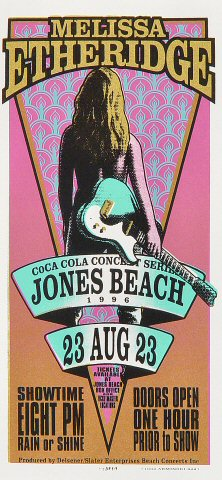 "Melissa Etheridge Handbill from Jones Beach on 23 Aug 96: 4 1/8"" x 8 5/8"""