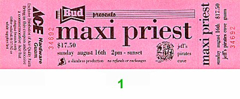 Maxi Priest 1990s Ticket from Jeff's Pirates Cove on 16 Aug 92: Ticket One