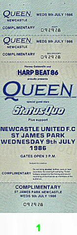 Queen 1980s Ticket from St. James Park on 09 Jul 86: Ticket One