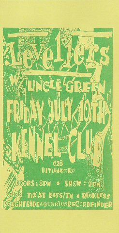 "Levellers Handbill from Kennel Club on 10 Jul 92: 2 7/8"" x 5 1/2"""