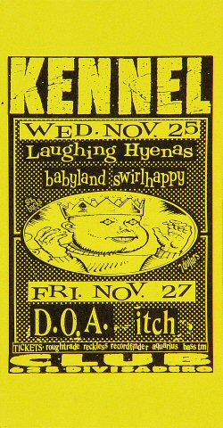 "Laughing Hyenas Handbill from Kennel Club on 25 Nov 92: 2 7/8"" x 5 1/2"""