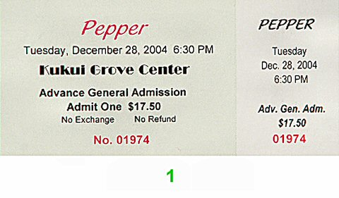 Pepper Post 2000 Ticket from Kukui Grove on 28 Dec 04: Ticket One