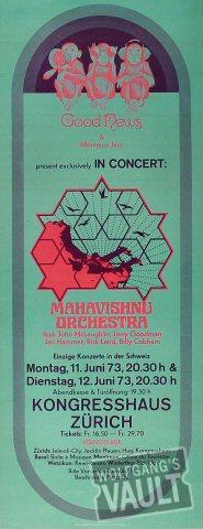 "Mahavishnu Orchestra Poster from Kongresshaus on 11 Jun 73: 9 7/8"" x 25 1/8"""