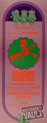 "Mahavishnu Orchestra Poster from Kongresshaus on 31 Jul 74: 9 3/4"" x 25 1/8"""