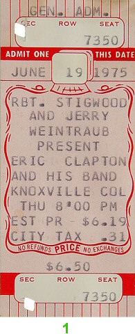 Eric Clapton 1970s Ticket from Knoxville Coliseum on 19 Jun 75: Ticket One