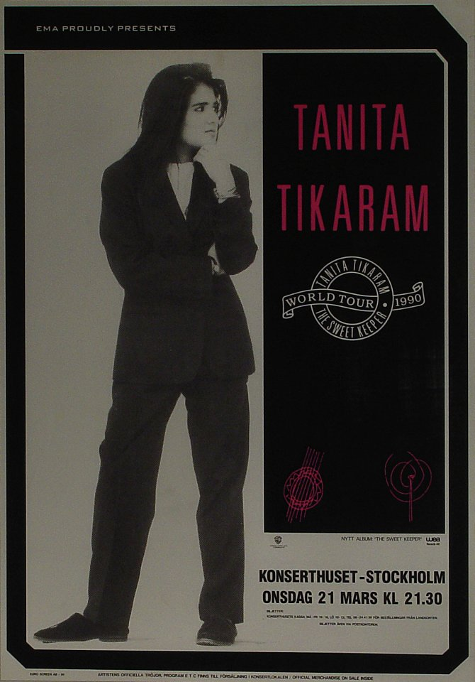 "Tanita Tikaram Poster from Konserthuset on 21 Mar 90: 24 13/16"" x 35 1/2"""