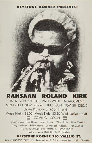 "Rahsaan Roland Kirk Handbill from Keystone Korner on 20 Nov 72: 5 1/2"" x 8 1/2"""