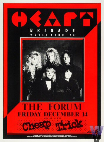 "Heart Poster from Los Angeles Forum on 14 Dec 90: 13 1/8"" x 17 7/8"""