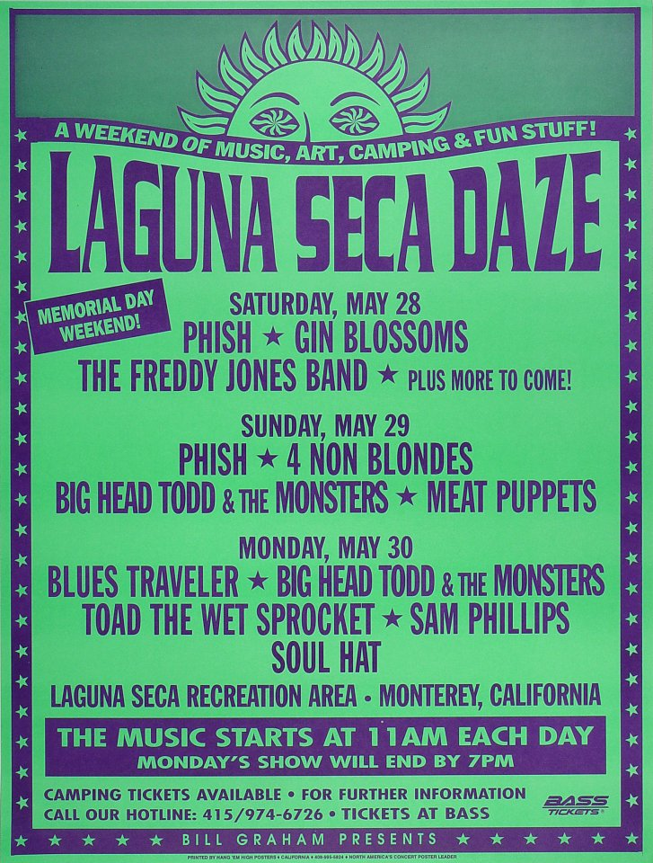 "Phish Poster from Laguna Seca Raceway on 28 May 94: 17"" x 22 1/2"""
