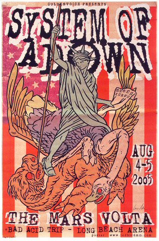 System of A Down Poster from Long Beach Arena on 04 Aug 05: 12&quot; x 18&quot;