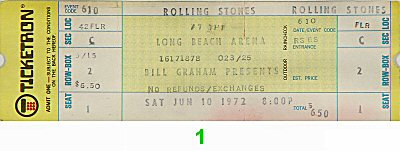 The Rolling Stones 1970s Ticket from Long Beach Arena on 10 Jun 72: Ticket One