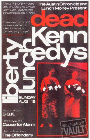 "Dead Kennedys Poster from Liberty Lunch on 19 Aug 84: 11"" x 17"""