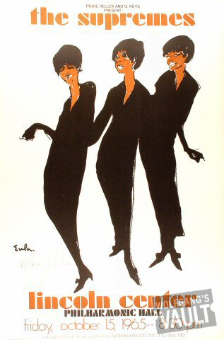 "The Supremes Poster from Lincoln Center Philharmonic Hall on 15 Oct 65: 25 1/8"" x 35 1/4"""