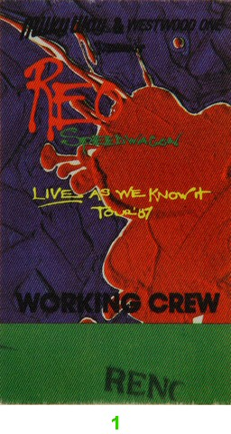 REO Speedwagon Backstage Pass from Lawlor Events Center on 01 Jul 87: Pass 1