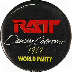 "Ratt Vintage Pin from Lawlor Events Center on 16 Jul 87: 1 3/4"" x 1 3/4"" Pin"