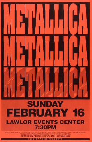 "Metallica Poster from Lawlor Events Center on 16 Feb 92: 11"" x 17"""