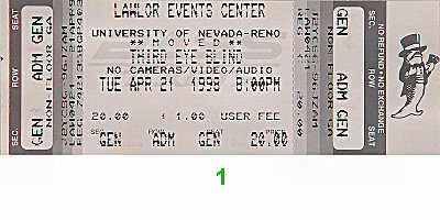 Third Eye Blind 1990s Ticket from Lawlor Events Center on 21 Apr 98: Ticket One