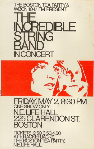 "The Incredible String Band Poster from New England Life Hall on 02 May 69: 11"" x 17 1/8"""