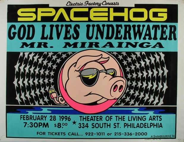 "Spacehog Poster from Theater of Living Arts on 28 Feb 96: 23"" x 30"""