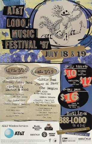 "The Smithereens Poster from LoDo Musical Festival on 18 Jul 97: 12 1/4"" x 19 1/8"""