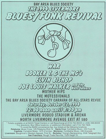 "War Handbill from Livermore Rodeo Stadium & Arena on 22 Oct 94: 8"" x 10 1/2"""
