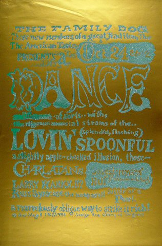 "Lovin' Spoonful Poster from Longshoreman's Hall on 24 Oct 65: 23"" x 35"""