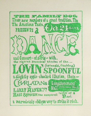 "Lovin' Spoonful Poster from Longshoreman's Hall on 24 Oct 65: 22"" x 28 1/8"""